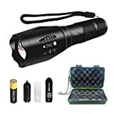 LED Tactical Flashlight - Rechargeable Tactical Flashlights - T6 Flashlight with 18650 Rechargeable Battery & Charger - Zoomable Handheld Flashlight with 5 Modes - Best Camping Outdoor Flashlight