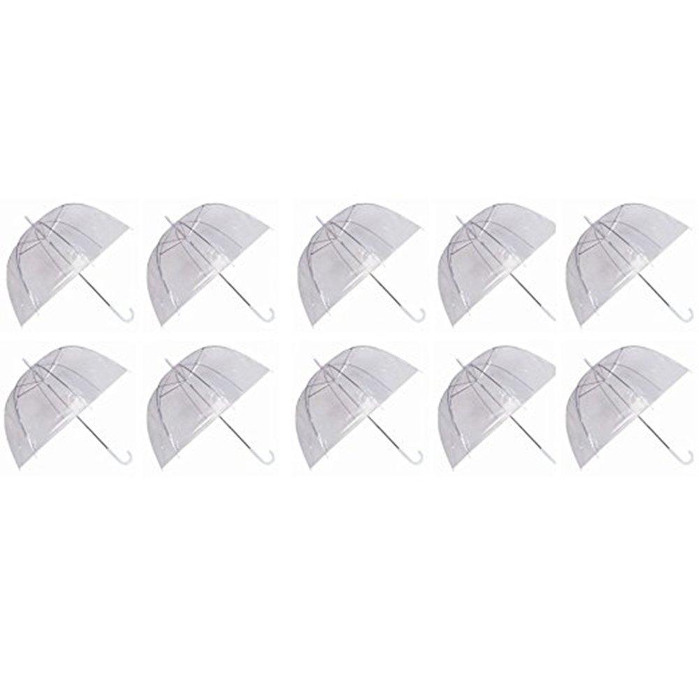 Pack de 10 paraguas elaborados en poliéster, acero y plástico.