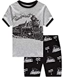 Little Boys Short Pajamas Train Snug Fit Cotton Toddler Pjs Summer Clothes Shirts Size 5 Gray/Black