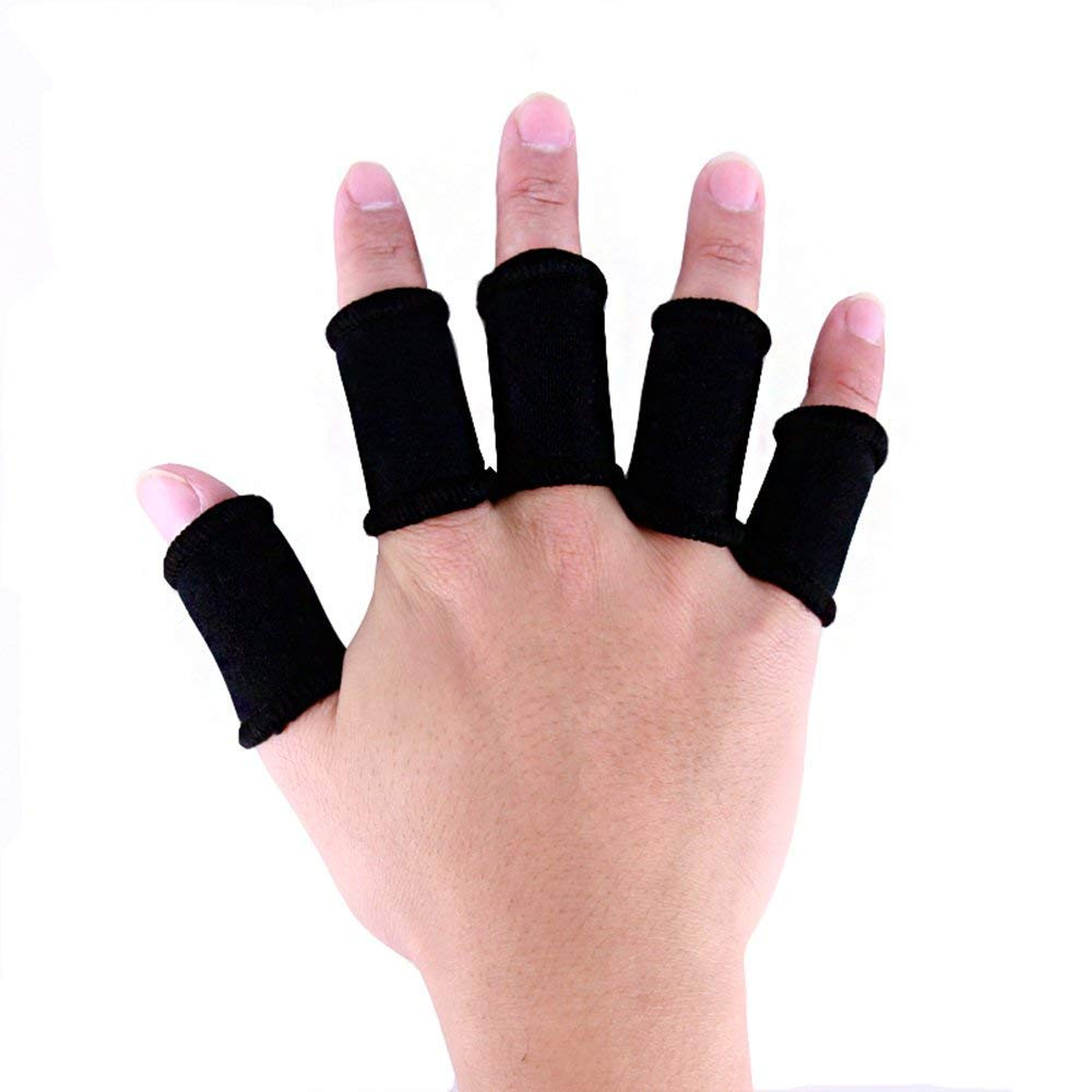 Xeminor Elastic Finger Sleeve Cover Nylon Finger Protector Sleeve Support Stretchy Protection Gloves Finger Guard for Outdoor Sports Black 10 Pcs by Xeminor (Image #2)