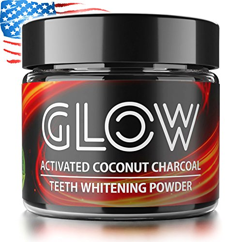 Charcoal Teeth Whitening Powder by Active GLOW - Made in USA - Organic Activated Coconut Charcoal 100% Natural Tooth Whitener Safe for Enamel & Sensitive Teeth Stain remover - Mint Flavor, 2 oz