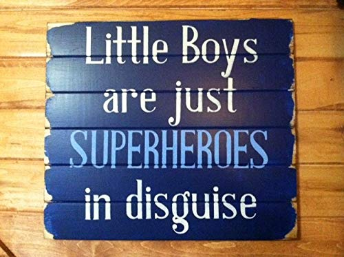 (Little boys are just superheroes in disguise 13w x 14h handpainted wood sign boys room ideas boys room decor boy sign superhero)