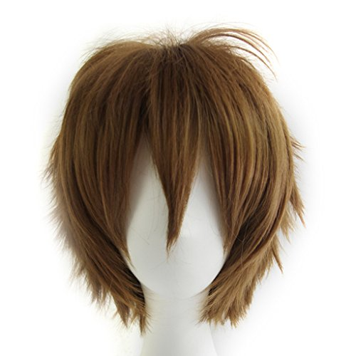 Max beauty Basic Style All Characters Anime Short Flaxen brown Wig,Layered Fluffy Heat Resistant Unisex Hair Party Cosplay (Grey Character Wig)