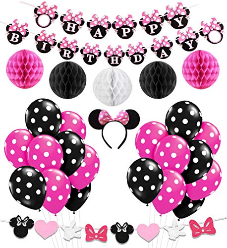 Minnie Mouse Party Decorations Supplies Pink Minnie Ears Birthday Banner Garland for Girls 1st 2nd Birthday Decorations ()
