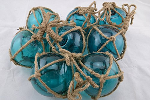 8 Pcs Turquoise Decorative Reproduction Blown Glass Float Fishing Buoy Ball with Fishnet 3'' by Shells&Co