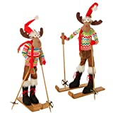 Raz Imports colorful moose skiing set of 2 29""