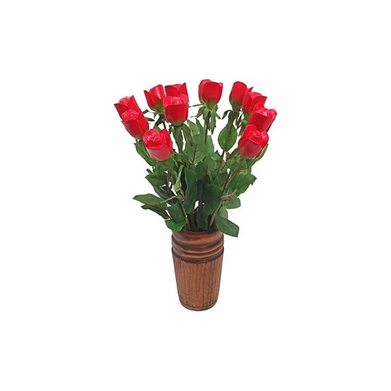 silk flower arrangements justpaperroses 5th (fifth) wedding annniversary gift of traditional wood rose bouquets by year (5th wood (red))