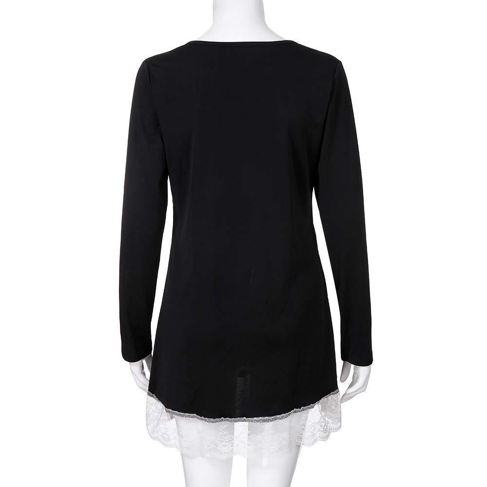171db4da578d3 OrchidAmor Women Autumn Casual Long Sleeve O-Neck Button Solid Lace ...
