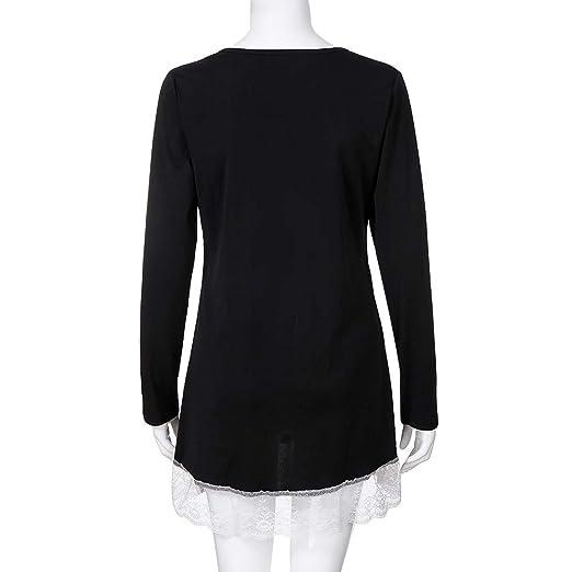 Mujeres Tops de Otoño Manga Larga Casual Botón O-Neck Camiseta de Encaje Sólido Blusa ❤ Manadlian: Amazon.es: Ropa y accesorios