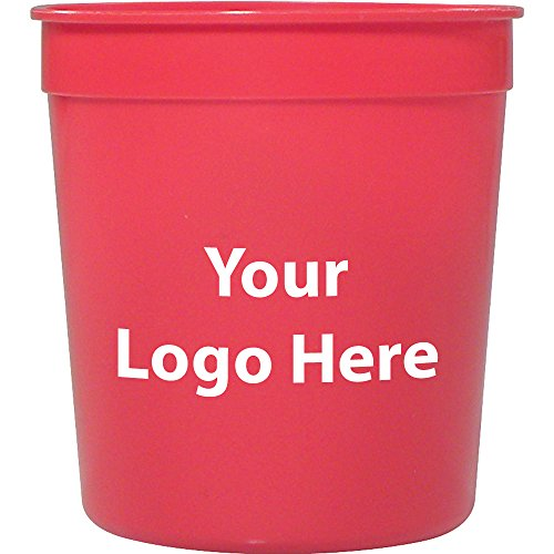 8 Oz. Stadium Cup - 250 Quantity - $0.50 - PROMOTIONAL PRODUCT / BULK / BRANDED with YOUR LOGO / CUSTOMIZED - Red Stadium Cup