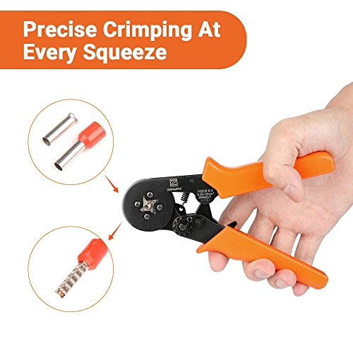 Ratchet Wire Crimping Tool, Self-adjustable Square Ferrule Crimper Crimping Pliers for 0.25-10mm² Wire Terminals (New Packaging) by Z ZANMAX (Image #3)