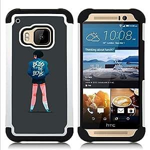 """Pulsar ( Jefe de chicas Cita Niños Street Style Fashion Art"""" ) HTC One M9 /M9s / One Hima híbrida Heavy Duty Impact pesado deber de protección a los choques caso Carcasa de parachoques"""