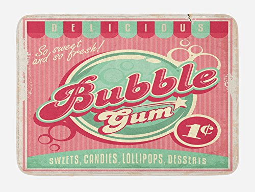 Lunarable 1950s Bath Mat by, Bubble Gum Tasty Candy Lollipop Sweet Sugar Advertise Poster Style, Plush Bathroom Decor Mat with Non Slip Backing, 29.5 W X 17.5 W Inches, Pale Pink Magenta Seafoam 512hfhcBsQL