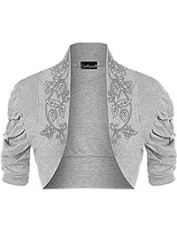 Women's Ladies Plus Beaded Ruched Cap Sleeve Shrugs Sequin Bolero Short Crop Cardigan Top Sizes US 12/14 and 16/18