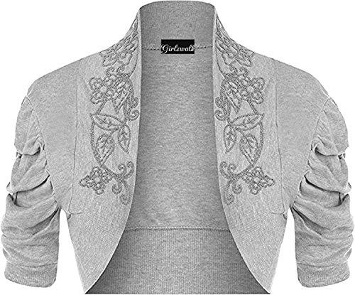 Cap Sleeve Cardigan Sweater - GirlzWalk Women's Ladies Plus Beaded Ruched Cap Sleeve Shrugs Sequin Bolero Short Crop Cardigan Top Sizes US 12/14 and 16/18 (Light Grey, XL 12-14)