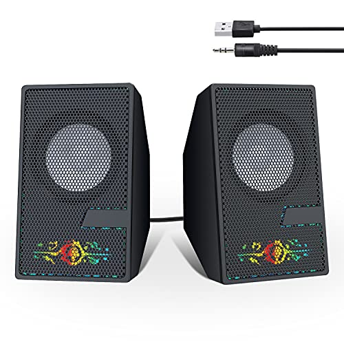 Computer Speakers, Desktop PC Speakers with 3.5mm Aux Jack, Laptop Speakers for PC Desktop Computer USB Powered with Volume Control, LED Lights, Gaming Computer Speakers for PC Laptop, Black
