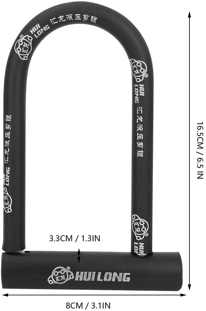 Keenso Cerradura en Forma de U Cerradura antirrobo de Acero y PVC Cerraduras Impermeables a Prueba de Herrumbre para Puerta de Oficina Bicicleta Motocicleta