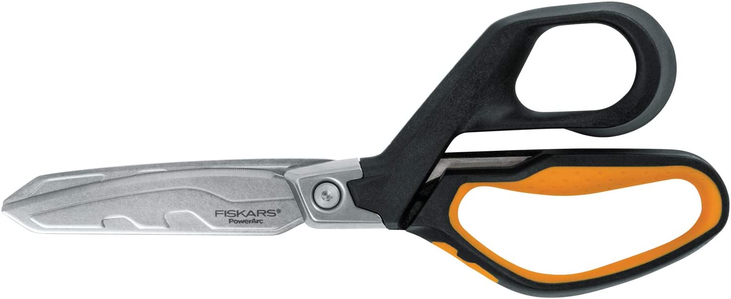 Fiskars PowerArc Heavy-Duty Scissors, Up to 30% More Power, Length 21cm, Durable Stainless Steel Blade/Plastic Handles, 1027204, Orange/Black