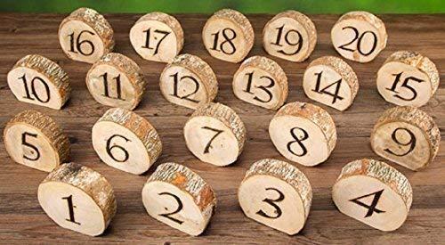 Set 1-20 Rustic Wedding Wood Slice Table Numbers - Rustic Wedding Table Numbers - Wooden Table Numbers - Wood Table Numbers - Wood Tree Slices