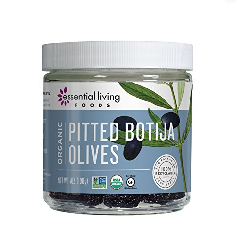 Essential Living Foods Organic Pitted Botija Olives, Raw, Vegan, Non-GMO, Gluten Free, Kosher, 100% Recyclable, 7 Ounce Jar