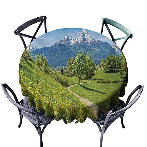 VIVIDX Custom Tablecloth,Mountain,Spring Scenery in Alps with Floral Grass and Snowy Mountain Tops in Rural Village,Modern Minimalist,60 -