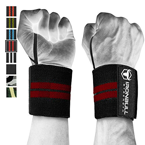 Wrist Wraps (18 Premium Quality) for Powerlifting, Bodybuilding, Weight Lifting - Wrist Support Braces for Weight Strength Training (Black/Burgundy)