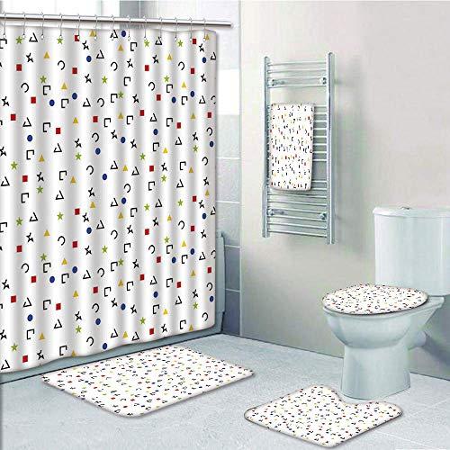 Bathroom 5 Piece Set shower curtain 3d print Customized,Geometric,Abstract Triangle Square Star Circle Dot Figures Symbols Forms Artistic Design,Multicolor,Bath Mat,Bathroom Carpet Rug,Non-Slip,Bath T