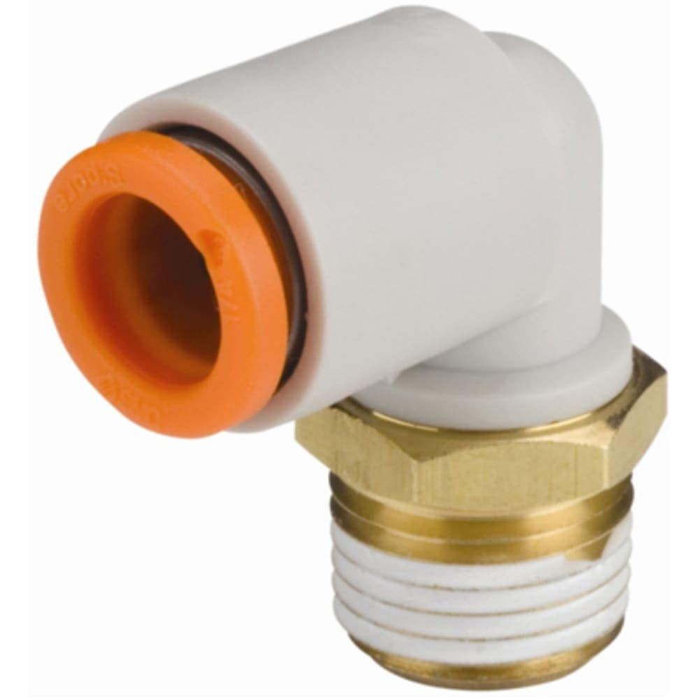 One-Touch Fitting; Threaded; Male Elbow; 3/8in Tube; 1/4NPT Brass Thread; w/Seal, Pack of 10