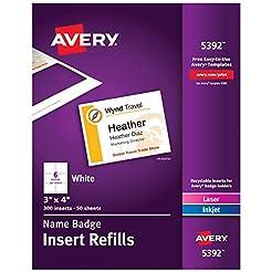 Avery Name Badge Inserts, Print or Write...