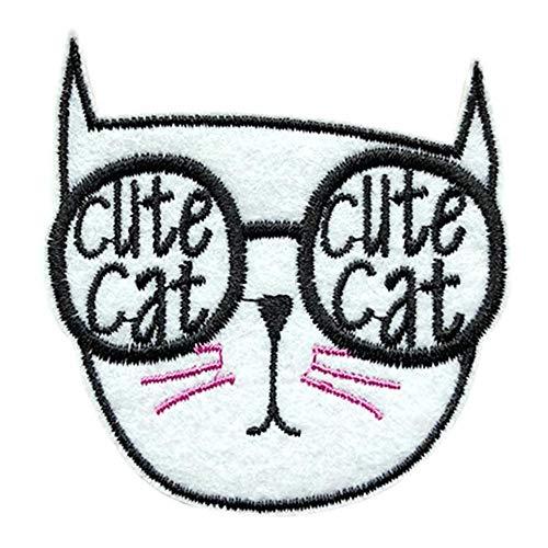 ネコ 刺繍 ワッペン アイロン接着 縦6cm×横6cm ねこ 猫 cat アップリケ アイロンワッペン ワッペンデコ ワッペンカスタム 可愛い WAPPEN