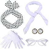 ArtiDeco 1950s Accessories Bandana Tie Headband Chiffon Scarf Cat Eye Glasses 50s Earrings and Gloves 50s Costume Accessories (White)
