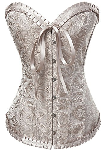 Alivila.Y Fashion Womens Vintage Lace Boned Renaissance Corset 2001-Cream-XL