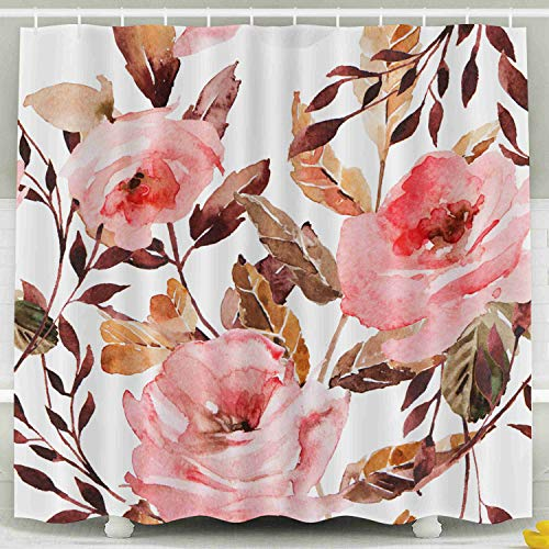 Shorping 78x72 Shower Curtain,Kids Shower Curtain, Watercolor Ornament Flowers Leaves Wedding Holiday Greeting Cards Posters Books Envelopes Photo Album Waterproof Decor Bathroom Set with Hooks