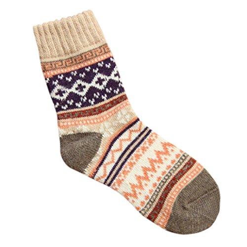 Womens Winter Stockings, Egmy Newest Womens Cashmere Wool Thick Warm Socks Winter Fashion Striped Socks Khaki