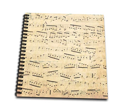 3dRose Grunge Musical Notes-Vintage Sheet Music-Yellowed Piano Notation-Pianist and Musician Gifts-Mini Notepad, 4 by 4
