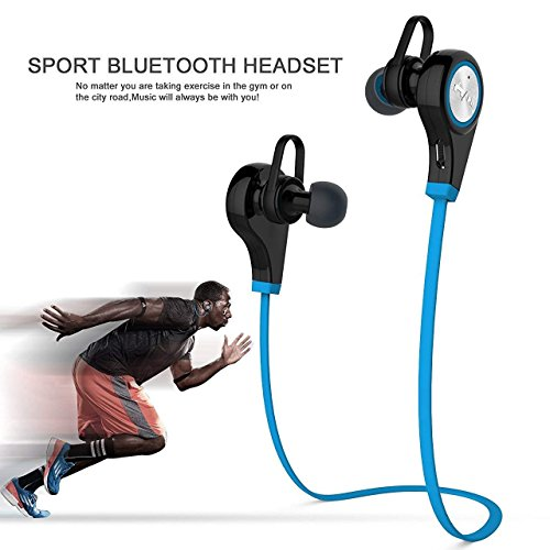 elecfan iphone 8 Plus Earphone, 2017 New Wireless V4.1 Earbuds in- Ear Earphones Sports Running Gym Exercise Sweatproof Headset for All Android Phones and All iphones (Blue) by elecfan