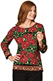 Women's Holiday Sequin Poinsettia 3/4 Sleeve Top, Hand Wash, 100% Cotton
