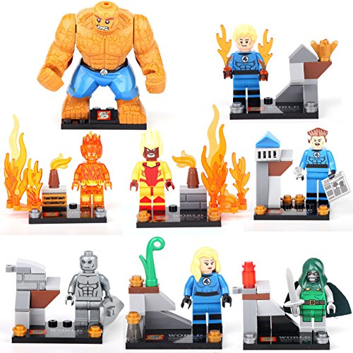 gonggamtop 8 Fantastic 4 Mini figures Thing Mister Doom Human Torch Building Bricks