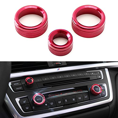 iJDMTOY 3pcs Red Anodized Aluminum AC Climate Control and Radio Volume Knob Ring Covers For BMW 1 2 3 3GT 4 Series (F20 F22 F30 F31 F32 F33 F80 F82 (F22 Boot)