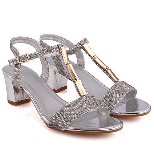 Unze Mujeres Orlo Glittery Strappy Bajo Mid-Block Talón Partido Prom Reunión Brunch Carnaval Evening Sandalias Talones Zapatos Uk Tamaño 3-8 Plateado
