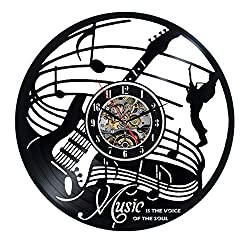 Music Musical Instruments Wall Clock 12 in(30cm) Black Decor Modern Decorative Vinyl Record Wall Clock This Clock is A Unique Gift to Your Friends and Family for Any Occasion …