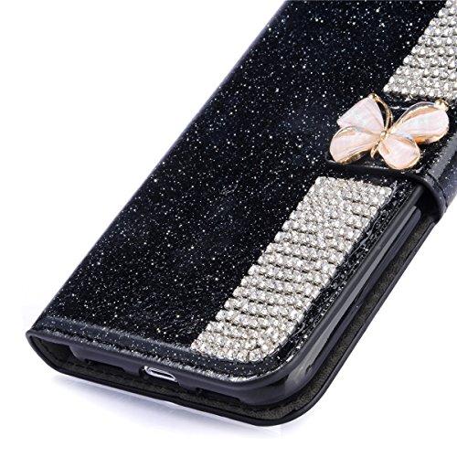 Para iPhone X Resplandecer Bling Cadena de diamantes PU Funda de cuero, cubierta del soporte del tirón Cartera Titulares Magnética del cierre Ultra Thin Flip Funda protectora con ranura para tarjeta y Negro