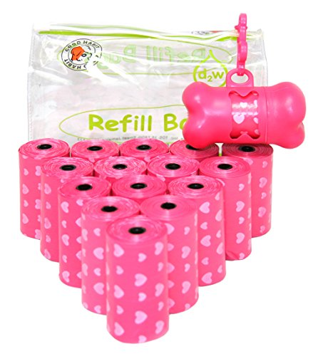 Pink Dispenser (Good Habit by Best Pet Supplies - 15 Micron Thick Waste Poop Bags Refill Rolls with Dispenser - Light Scented, Pink Heart, 240 Bags)
