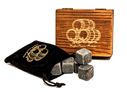 Whiskey Stones – Set of 9 Hand Made Natural Stones – Ideal gift for Men & Women – Packaged in an Elegant Wood Box with Velvet Carrying Pouch – Enjoy your Chilled Spirit - By Verified Premium Products