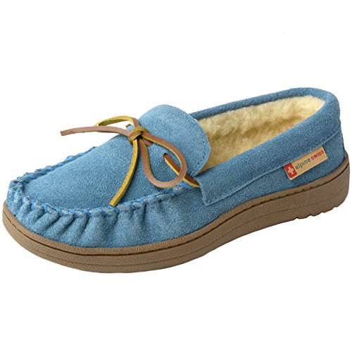 Price comparison product image alpine swiss Sabine Womens Suede Shearling Slip On Moccasin Slippers Blue 11 M US