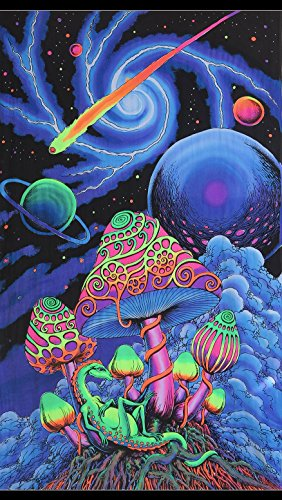 Space Tribe Psychedelic Tapestry 'Cosmic Shroom' - Hand-Painted and Silkscreen Batik Wall-Hanging - UV Active Wall-Hanging -Trippy Wall Art - Black Light Active Trippy Tapestry - Fantasy Tapestry