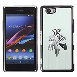 Paccase / SLIM PC / Aliminium Casa Carcasa Funda Case Cover - Hands Puppet Master Deep Meaning - Sony Xperia Z1 Compact D5503