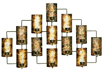 Attractive Aged Gold Metal Votive Candle Holder Wall Decor Part 29