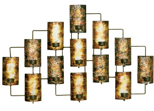 Welcome Home Accents Aged Gold Metal Votive Candle Holder Wall Decor - Gold Wall Votives