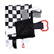 Sensory Baby Tag Blanket, Racing Checkered Flag Lovey for Any Nascar Fan, 14  X 18 . For Entertainment, Security, Comfort. Also Used for Special Needs, Autism, Therapy. Ribbons Sewn Shut Into Tabs for Added Security. Made in USA By Baby Jack Blankets
